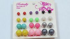 Ball Sphere stud earring set 12 pr Sparkle party favors Fun assorted sizes C