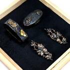 AA737 Japanese Samurai Edo Antique Umehana zu fuchi kasira & Sansho menuki set.