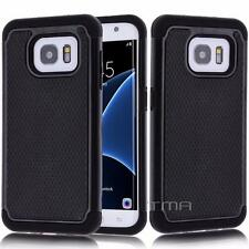 Samsung Galaxy S7 EDGE Rugged Rubber Impact Hybrid Shock Proof Case Etui - Black