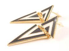 Retro Gold Black White Monochrome Geometric Gold Jewellery Earrings