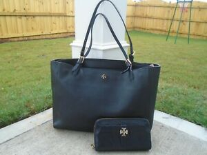 Tory Burch black safiano leather XL tote shoulder bag and wallet