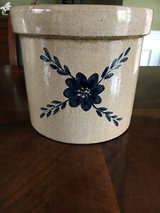 Pottery Stoneware Crock with Cobalt Blue Design No Cracks Primitive Farmhouse
