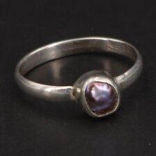 Solitaire Ring Size 5.5 - 1g Vtg Sterling Silver - Tahitian Pearl