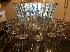 Huge Antique Optical 12 Cup Punch Bowl with Cups. All Original