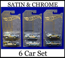 Hot Wheels Satin & Chrome Set Of 6 '71 Datsun 510 & El Camino And 63 Chevy 2019