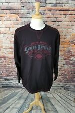 Harley Davidson Men's Black Burgundy Cotton EMBROIDERED Pullover Sweater Sz XL