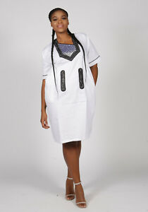 African Dashiki Embroidered Polished White Cotton Dress Size - UK10,12,14,16,18