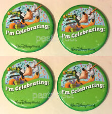 Disney 4 Button Set I'm Celebrating  WDW Goofy Party Hat Horn Confetti Pin-back