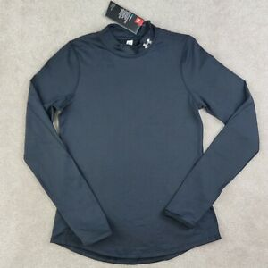 Under Armour ColdGear Shirt Womens Small S Long Sleeve Black Mock Neck Thumbhole
