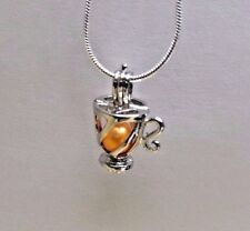 Make a Wish Pearl Cage Pendant Necklace - Tea Cup - 925 Chain+Pearl Included