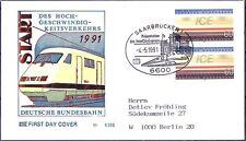 BRD 1991: ICE! FDC Nr. 1530 InterCityExpress-Stempel Saarbrücken! Gelaufen! 1708