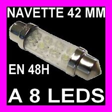 AMPOULE NAVETTE FEU 8 LED C5W 42MM BLANC BOITE A GANTS LISEUSE PORTIERE XENON