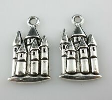 12pcs Tibetan Silver Castle Charms Crafts Pendants Jewelry Making 12x23mm