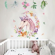 Girls Gorgeous Unicorn Nice Flowers Fairy Butterflies DIY Removable Wall Decals