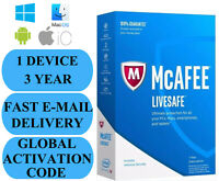 McAfee LiveSafe 1 DEVICE 3 YEAR (GLOBAL ACTIVATION CODE) 2021 EMAIL ONLY