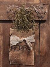 Primitive Burlap Bag Peg Hanger Herbs Sweeet Annie  Make Do
