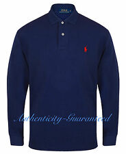 Ralph Lauren Long Sleeve Navy Mens Polo Shirt Cotton Ribbed Trim Red Pony L