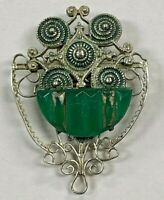 ANTIQUE ART DECO SILVER TONE DRESS CLIP WITH GREEN STONE PAT # 1852188