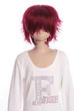 W-01-118 ROSSO RED brevemente 35cm Cosplay Parrucca Wig Perruque CAPELLI HAIR ANIME MANGA