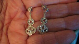 NWOT STEPHEN SINGER SAPPHIRE & DIAMOND PIERCED EARRINGS