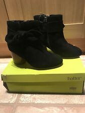 Brand New Ladies Wide Fit Black Suede Ankle Books Size 4.5EEE