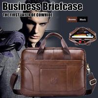 Men Cowhide Leather Briefcase Handbag Business Laptop Travel Shoulder Ba