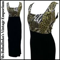 Size 10 12 VTG Maxi Dress 1990s Black Animal Print Stretch Velour Velvet Grunge