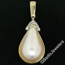 14K Yellow Gold Large Pear Tear Drop Mabe Pearl Enhancer .22ctw Diamond Pendant