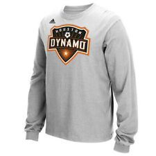 Houston Dynamo MLS Adidas Men's Team Primary Logo Grey Long Sleeve T-Shirt