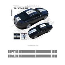 Ford Mustang w Camear Lip Spoiler 2013+ Rally Stripes Graphic Kit - Metal Silver