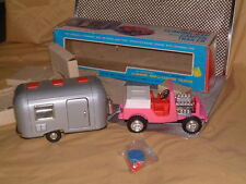 1968 BANDAI B/O 4WHEEL DRIVE GEAR SHIFT JEEP WITH CAMPER & BOX! NO. 4283 C~VIDEO