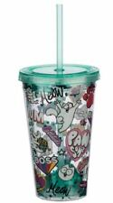 SIMONS CAT FUNKY CHILDREN'S PLASTIC DOUBLE WALLED CUP WITH LID AND STRAW