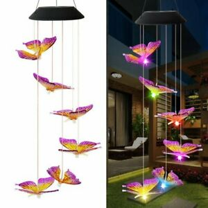 Solar Color Changing LED Large Butterfly Wind Chimes Home Garden Decor Light