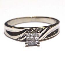 10k white gold .18ct princess invisible set diamond engagement ring 2.5g womens