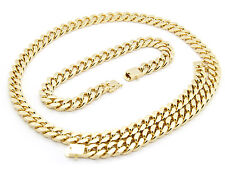 "Mens 14k Gold Plated Heavy Thick Cut Hip Hop Chain & Bracelet 24"" Cuban Necklace"