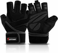 """Padded Weight Lifting / Gym Gloves, Workout Gloves with Built-in 19"""" Wrist Wraps"""