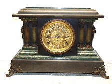 ANTIQUE SETH THOMAS GREEN ADAMANTINE 8 DAY CHIMING MANTLE CLOCK RUNS WELL