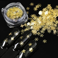 Christmas Decoration Snowflake Nails Sequins Nail Art Glitters Gold Metal Slices