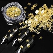 90pcs/Set 3D Snowflakes Sequins Christmas Gold Metal Slices Nail Art Decorations