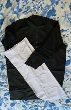 Men's Black Kurta w/ White Shalwaar   Black Buttons
