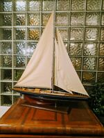 "LARGE Vintage hollow wood boat pond yacht Display Ship Sailboat model- 36""x44"""
