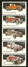US Scott # 2381-5 / 2385a Classic Cars Booklet Pane of 5