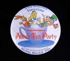 Pinback Button Disney Alice Tea Cups Ride Grand Opening 1986 Tokyo Disneyland