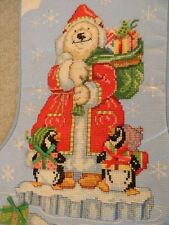 Handmade Cross Stitch Christmas Stocking SOUTH POLE Polar Bear Santa PERSONALIZE