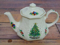 Porcelain Christmas Eve TEAPOT by Sadler England Christmas Tree Train Bows Holly