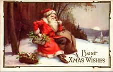 Postcard Embossed Best Xmas Wishes Santa Resting by Edge of Forest 1924 A20