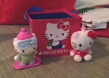 Red Hello Kitty Carrying Box w Blue Ribbon Handle + 2 FREE HK Toys Incl