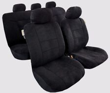 Sheepskin Plush Velour All Black Airbag Car Seat Cover Full Set FREE SHIPMENT AU
