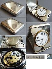 Pendulette de voyage argent massif UGO FRILLI Firenze Italie 1920 silver clock