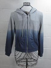NWT Juicy Couture Gray & Blue Hooded Zip Up Sweatshirt w/ Rhinestones Medium M